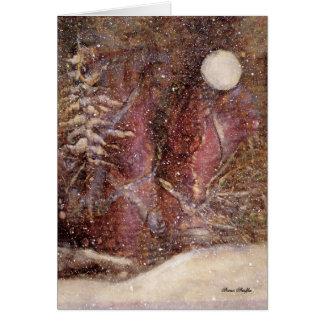 Snöig vinternattjulkort hälsningskort