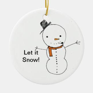 Snöman och ren rund julgransprydnad i keramik
