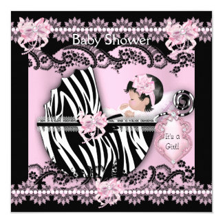 Snöre för sebra för gullig flicka för baby shower fyrkantigt 13,3 cm inbjudningskort