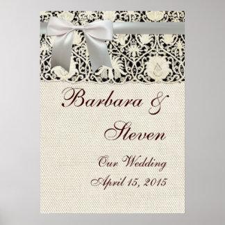 Snöre och linne för bröllopvintagevit poster