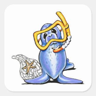 Snorkelen förseglar fyrkantigt klistermärke