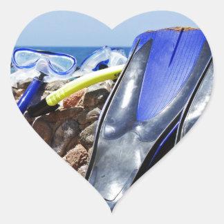 snorkeling verktyg hjärtformat klistermärke