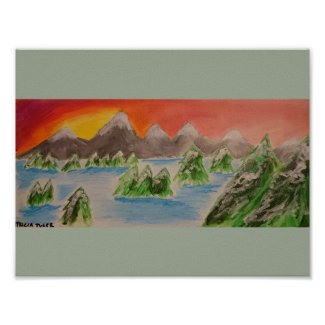 Snow landscape acrylic painting poster
