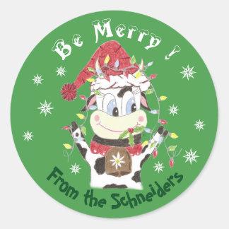 Snowbell den glada ko-Vara, julklistermärkear Runt Klistermärke