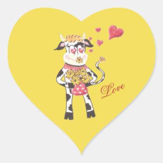 Snowbell kon, förälskade gula hjärtaklistermärkear hjärtformat klistermärke