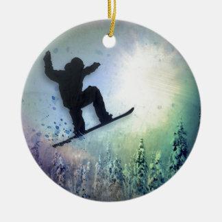 Snowboarderen: Luft Rund Julgransprydnad I Keramik