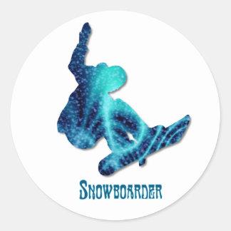 Snowboarderklistermärkear Runt Klistermärke