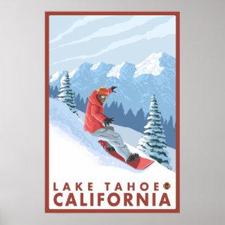 Snowboarderplats - Lake Tahoe, Kalifornien Poster