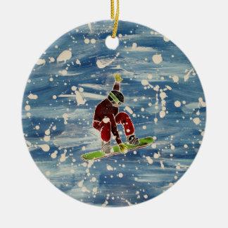 Snowboardingprydnad Julgransprydnad Keramik