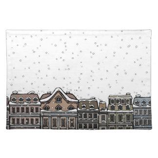Snowfall över en stad bordstablett