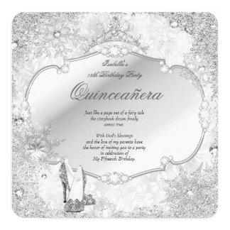 Snowflake A för silver för Quinceanera Fyrkantigt 13,3 Cm Inbjudningskort