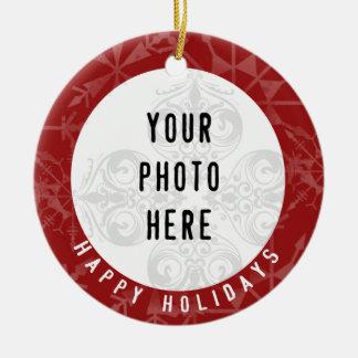 Snowflake för foto för glad helg 2 röd julgransprydnad keramik