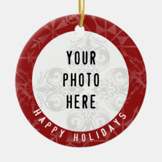 Snowflake för foto för glad helg 2 röd rund julgransprydnad i keramik