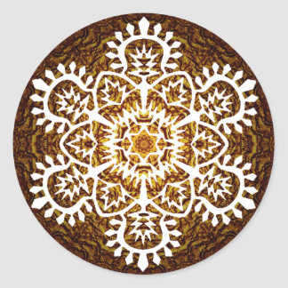 Snowflake för nytt år runt klistermärke