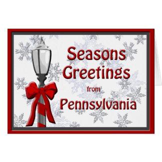 Snowflake för Pennsylvania säsonhälsningarlampa Hälsningskort