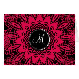 Snowflake för snöre Mongram för svart shock rosa OBS Kort