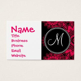Snowflake för snöre Mongram för svart shock rosa Visitkort
