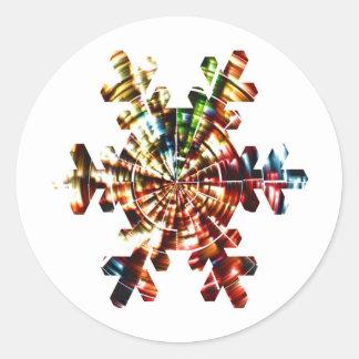 Snowflake - Holistic mönster för röd gnistra Runt Klistermärke