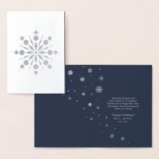 Snowflake och silver ID426 för snökastbyjul Folierat Kort