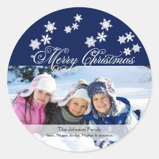Snowflake på blåttfotoklistermärke runt klistermärke