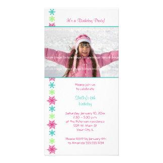 SnowflakefödelsedagPhotocard inbjudan Fotokort