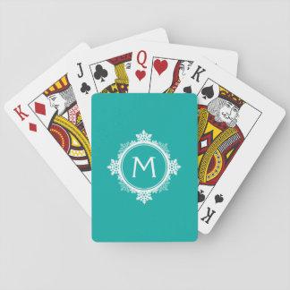 SnowflakekranMonogram i krickablått & vit Casinokort