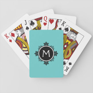 SnowflakekranMonogram i krickan, svart, vit Casinokort