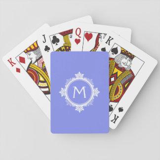SnowflakekranMonogram i lilablått & vit Spel Kort