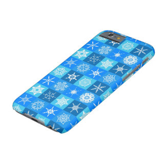 Snowflaken kvadrerar på blått barely there iPhone 6 skal
