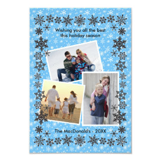 Snowflakeramblått 3 foto - julkort 3x5 8,9 x 12,7 cm inbjudningskort