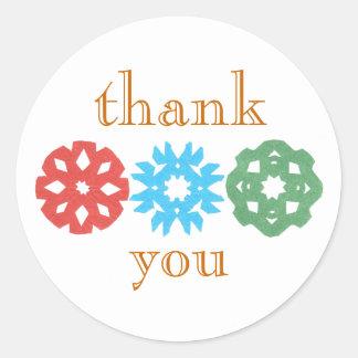 Snowflaketriohelgdag tacka-du klistermärke