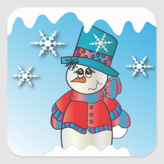 Snowflakevintersnögubbe Fyrkantigt Klistermärke