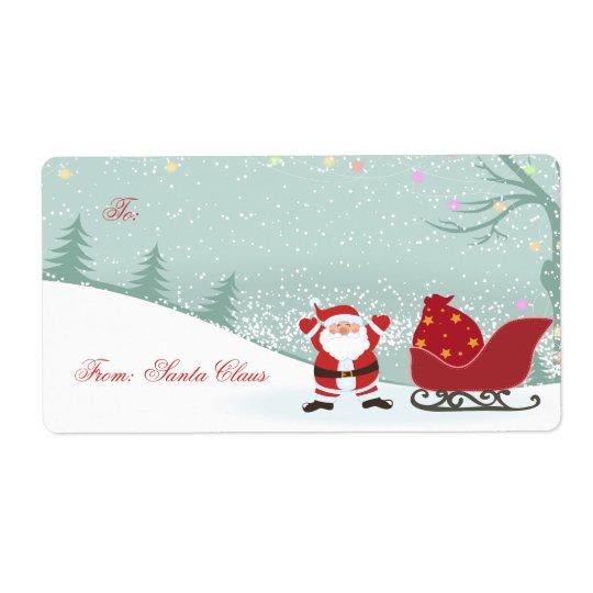 Snowing för jul + Märkre för Santa sleighgåva Fraktsedel