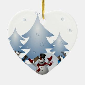 Snowmens & renar hjärtformad julgransprydnad i keramik