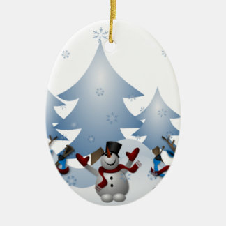 Snowmens & renar ovalformad julgransprydnad i keramik