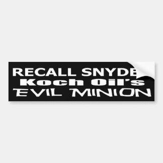 Snyder för återkallelseregulatorstack ond företags bildekal