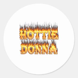 Snygginga Donna avfyrar och flammor Runt Klistermärke