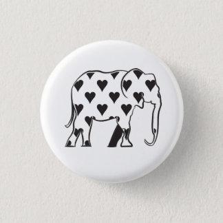 Snyggt för svart för kärlek för elefantvithjärtor mini knapp rund 3.2 cm