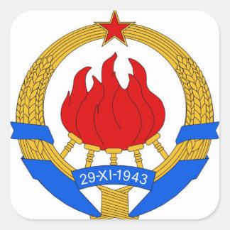Socialistisk Federal Republic of Yugoslavia Emblem Fyrkantigt Klistermärke