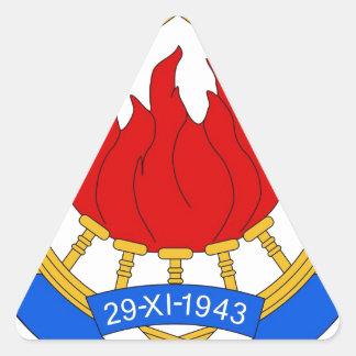 Socialistisk Federal Republic of Yugoslavia Emblem Triangelformat Klistermärke