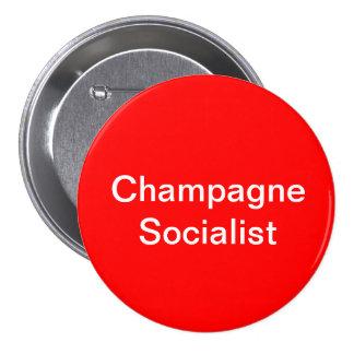 Socialistiskt emblem för champagne mellanstor knapp rund 7.6 cm