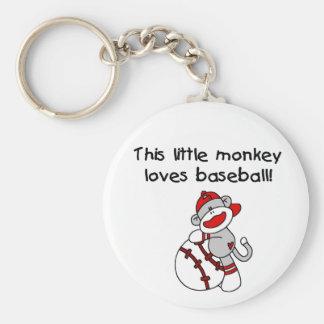 Sock monkey älskar baseball rund nyckelring