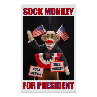 Sock monkey för presidentaffisch poster
