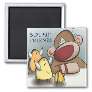 Sock monkey och hans bästa vänmagnet kvadrerar magnet