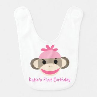"""Sock monkey (vändbar) haklapp """"för min första föde hakklapp"""