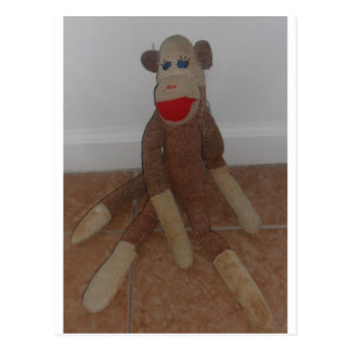 Sock monkey vykort