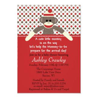 Sock monkeybaby showerinbjudan - skräddarsy 12,7 x 17,8 cm inbjudningskort