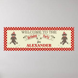 Sock monkeyfödelsedagsfestbanret personifierar poster