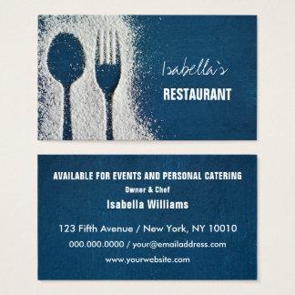 Socker bestick, marinblå catering, restaurang visitkort