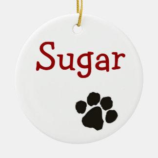 Socker - hundhänge rund julgransprydnad i keramik